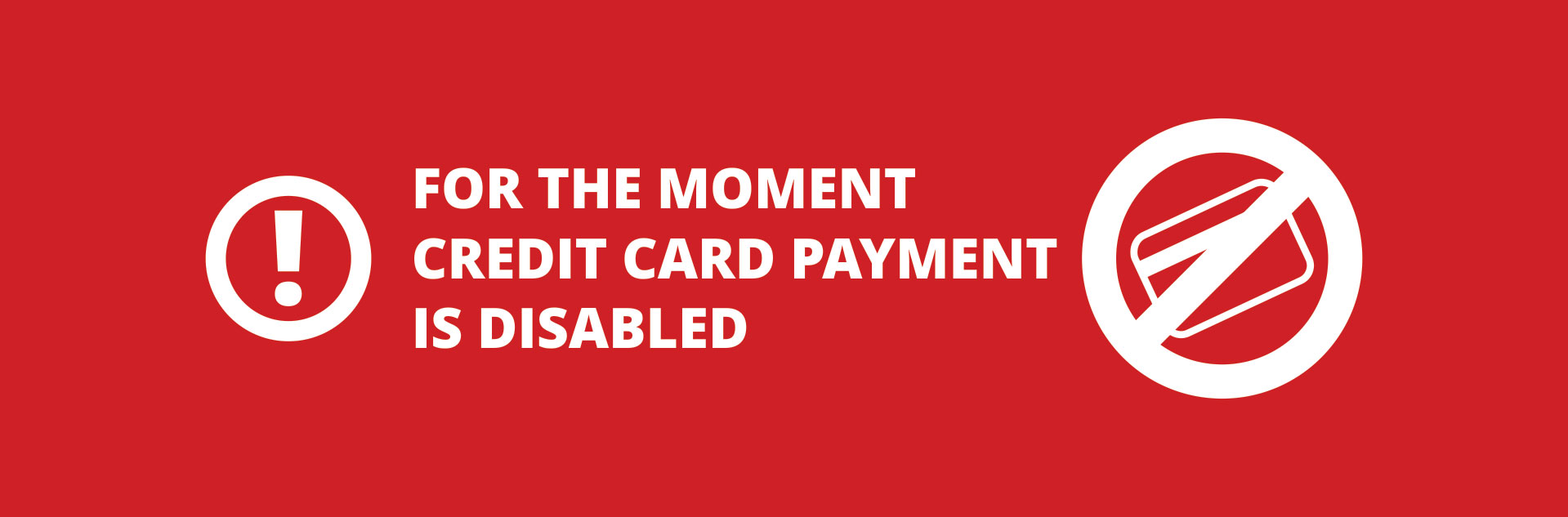 banner credit card payment is disabled